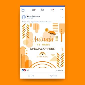 Jesienny szablon postu na facebooku