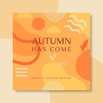 Jesienny szablon postu na instagramie z abstrakcyjnymi kształtami