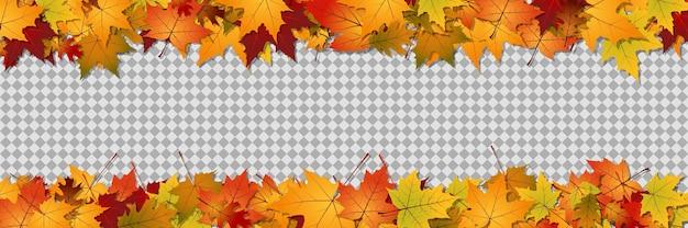 Jesienny szablon transparentu wektorowego przezroczyste tło z kolorowymi liśćmi drzew