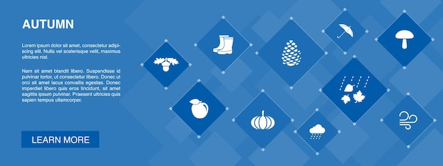 Jesienny sztandar 10 ikon koncepcji. orzech dębowy, deszcz, wiatr, proste ikony dyni