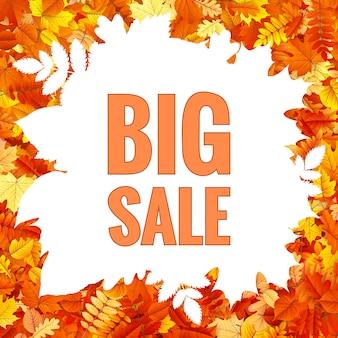 Jesienny sztandar sprzedaży z kolorowymi liśćmi.
