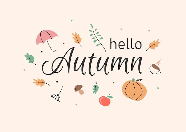 Jesienny sztandar wektor jesienny wieniec z opadającymi liśćmi jabłko jarzębina jesienne elementy kwiatowe