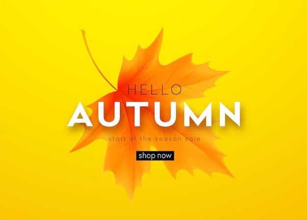 Jesienny sztandar z napisem i żółtymi jesiennymi liśćmi klonu