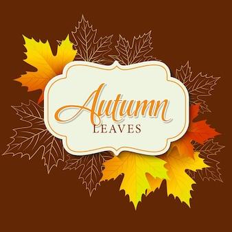 Jesienny sztandar z ramą i liśćmi