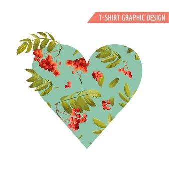Jesienny t-shirt serce kwiatowa grafika z jarzębiną i liśćmi. jesień natura tło
