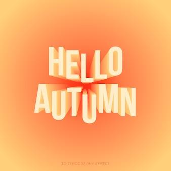 Jesienny tekst w typograficznym efekcie 3d w ciepłych kolorach