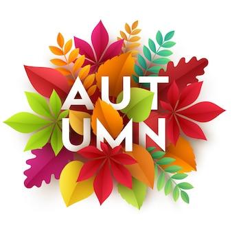 Jesienny transparent tło z liści jesienią papieru. ilustracja wektorowa eps10