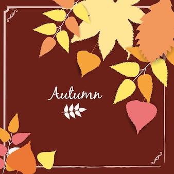 Jesienny transparent tło z papierowym szablonem jesiennych liści