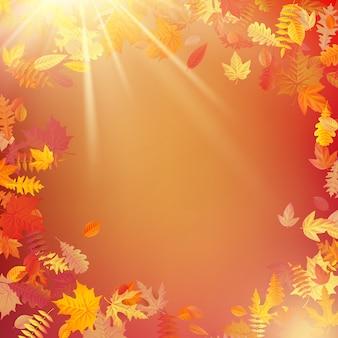 Jesienny układ szablonu udekoruj liśćmi.