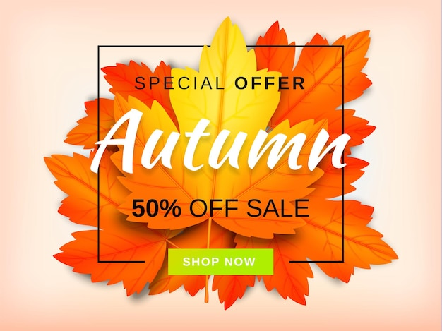 Jesienny układ tła wyprzedaży udekoruj liśćmi na sprzedaż na zakupy lub plakat promocyjny i ramkę