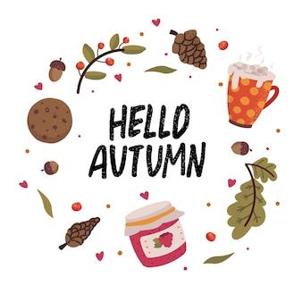 Jesienny wianek ze spadającymi liśćmi, dżemem, kubkiem kakao, ciastkiem i napisem. kolekcja notatnik elementów jesieni. jesień z życzeniami