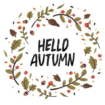 Jesienny wianek ze spadającymi liśćmi, szyszkami, żołędziami i napisem. kolekcja notatnik elementów jesieni. jesień z życzeniami