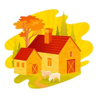 Jesienny wieczór wiejski dom krajobraz.