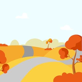 Jesienny wiejski krajobraz z drzewami, polami i drogą. ilustracja kreskówka wektor.