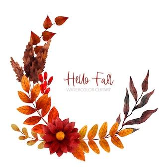 Jesienny wieniec kwiatowy jesienne kwiaty i liście