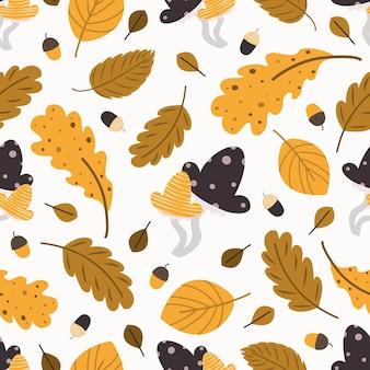 Jesienny wzór drzew. bezszwowe tło upadek liści. stylizowane liście dębu, buka, brzozy. dojrzałe pieczarki i żołędzie. projektowanie tkanin, papieru cyfrowego, scrapbookingu. ręcznie rysowane ilustracja wektorowa