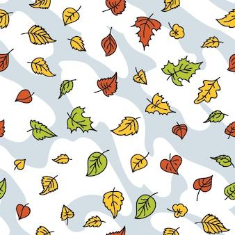 Jesienny wzór liścia bez szwu. bezszwowy szablon dekoracyjny z liśćmi