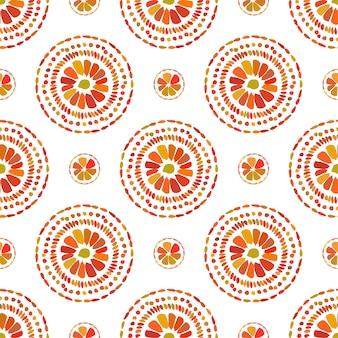 Jesienny wzór. retro kwiatowy wzór koła. wektor bezszwowy na białym tle.