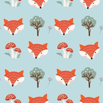 Jesienny wzór szwu z lisem i grzybami