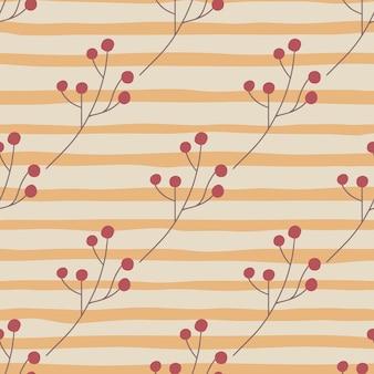 Jesienny wzór z czerwonymi jagodami abstrakcyjnymi kształtami
