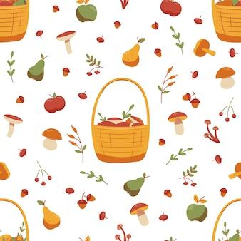 Jesienny wzór z grzybami, żołędziami, jagodami, jabłkami i gruszkami. ilustracja wektorowa.