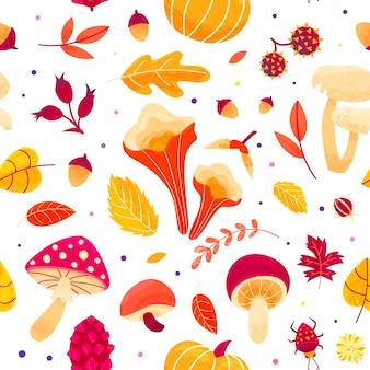Jesienny wzór z liści, grzybów, gałązek, chrząszczy i nasion. jesienny projekt bez szwu.