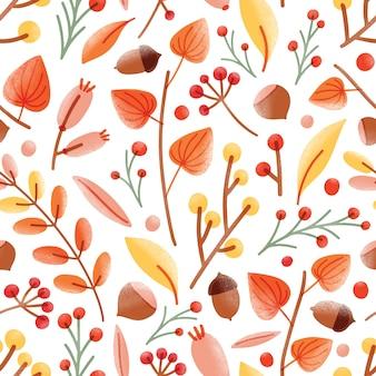 Jesienny wzór z żołędziami, orzechami, agrestem pelerynowym, jagodami kaliny