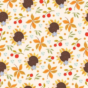 Jesienny wzór ze słonecznikami