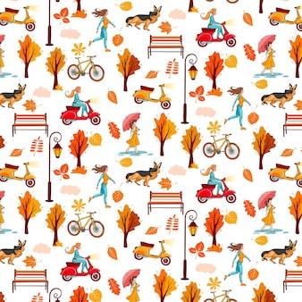 Jesienny wzór. żółte liście, drzewa, latarnia na ławce, dziewczyna z parasolką, pies. styl kreskówki.