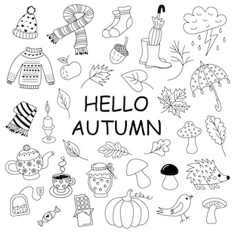 Jesienny zestaw doodle sketchy vector handdrawn doodle zestaw obiektów i symboli na temat jesieni