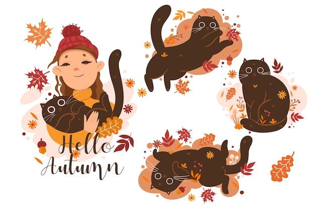 Jesienny zestaw ilustracji koty i dziewczyny oraz napis hello autumn. grafika wektorowa