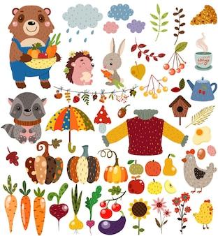 Jesienny zestaw z leśnymi dzikimi zwierzętami i warzywami, owocami i wystrojem