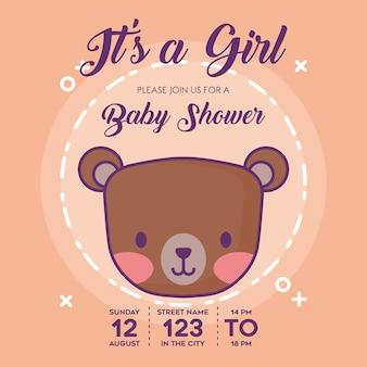 Jest to dziewczyna baby shower zaproszenie z ikoną niedźwiedzia