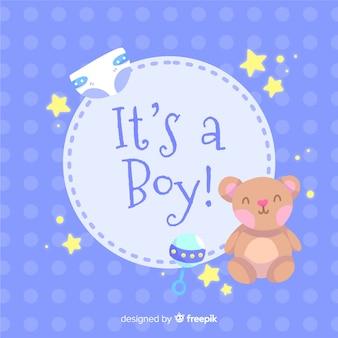 Jest To Szablon Dla Chłopca Baby Shower Darmowych Wektorów