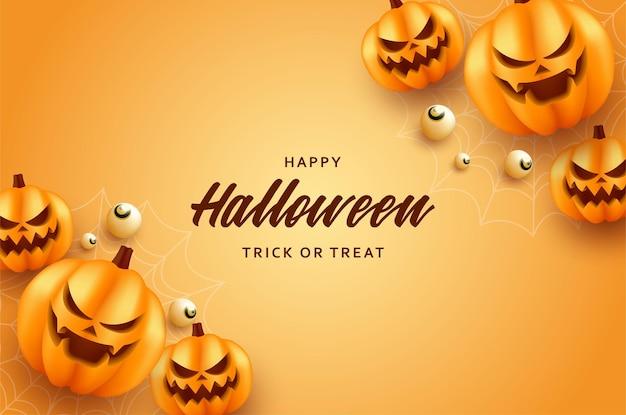 Jest uśmiechnięta impreza z dyni halloween i słodycze