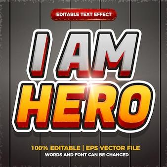 Jestem bohaterem, edytowalny efekt tekstowy, komiks stylu szablonu 3d