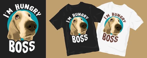 Jestem głodnym szefem, projekt koszulki z zabawnym psem