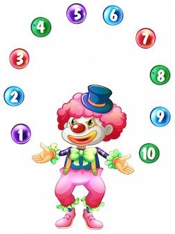 Jester żongluje piłkami z numerami