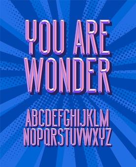 Jesteś cudowna, czcionka. 3d litery alfabetu vintage. styl retro.
