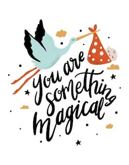 Jesteś czymś magicznym drukiem artystycznym cytat dla dzieci z bocianem i dzieckiem