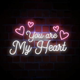 Jesteś moim sercem z napisem neonu na walentynki