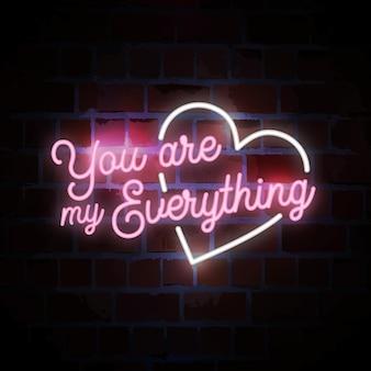 Jesteś moim wszystkim napisem typografii neonowej ilustracji