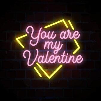 Jesteś moją ilustracją neonu typografii z napisem valentine
