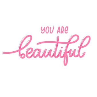 Jesteś piękna. karta z kaligrafią. ręcznie rysowane nowoczesny napis.