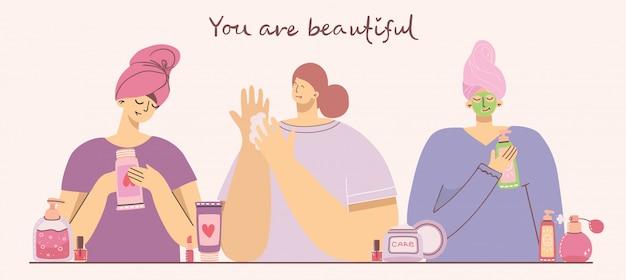 Jesteś piękna. kolaż kosmetyków i produktów do pielęgnacji ciała do makijażu w pobliżu dziewcząt. nowoczesna ilustracja w stylu płaski.