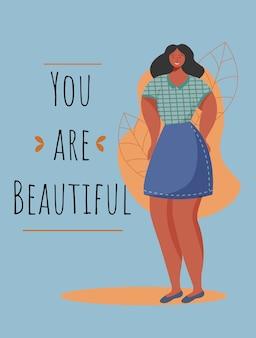 Jesteś pięknym szablonem plakatu. ruch feministyczny. broszura, okładka, projekt strony broszury z płaskimi ilustracjami. afrykańska kobieta z nadwagą. ulotka reklamowa, pomysł na układ banera