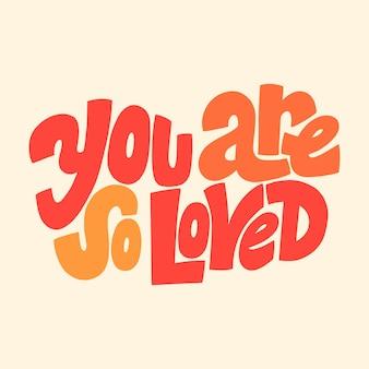 Jesteś tak kochany handdrawn napis typografia cytat o miłości na walentynki i wesele