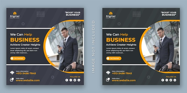 Jesteśmy agencją biznesową i korporacyjną ulotką biznesową w mediach społecznościowych szablon postu na instagram