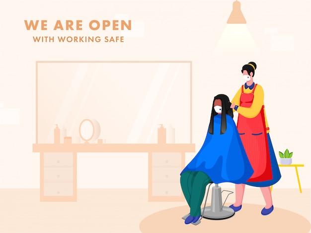 Jesteśmy otwarci na bezpieczny plakat przedstawiający kobietę fryzjerską obcinającą włosy klientowi siedzącemu na krześle w swoim salonie.