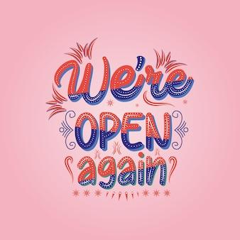 Jesteśmy otwarci ponownie otwierając napis w sklepie